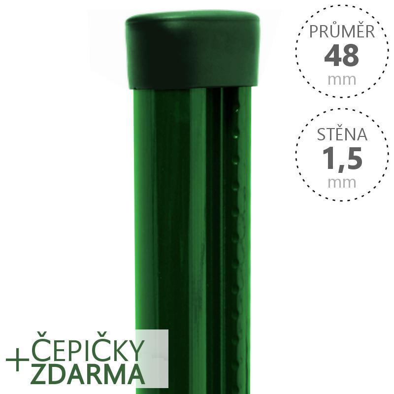 Sloupek s montážní lištou Zn+ PVC 170 cm pr. 48 mm tl. 1,5 mm Zelený balení PLOTY | 3,2Kg