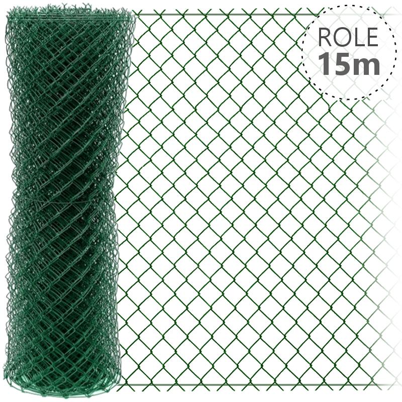 Pletivo Zn+ poplastované IDEAL 1,65/2,5/zelené/role 15m se zapleteným napínacím drátem, výška dle výběru od 1000 do 2000 mm výška v mm: 1600 mm
