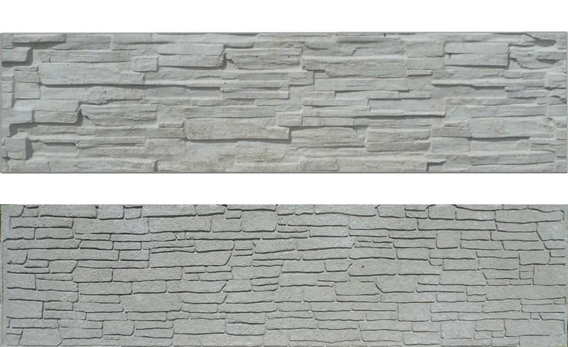 Betonový panel rovný oboustranný štípaný kámen 200 x 50 x 4,5 cm - přírodní