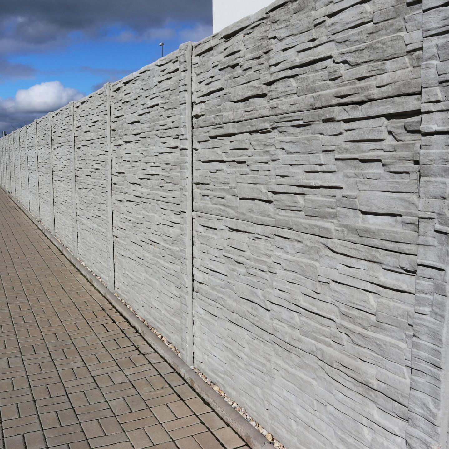 Betonový panel rovný jednostranný 200x50x4,5 cm - štípaný kámen - přírodní