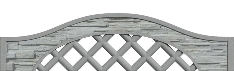 Betonový panel oblouk - mřížka jednostranný 200x30/50x4,5 cm - štípaný kámen - přírodní
