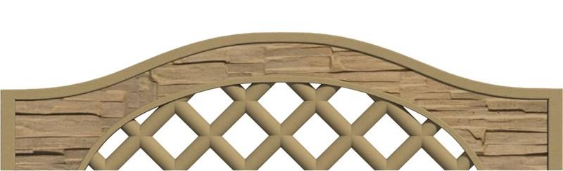 Betonový panel oblouk - mřížka jednostranný 200x30/50x4 cm - štípaný kámen - pískovec
