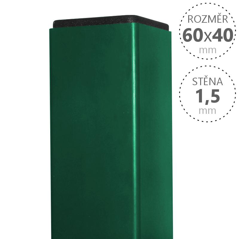 Sloupek Pilodel 60x40x1,5 x v. dle výběru, Zn + RAL zelená v. 2000 mm 4Kg