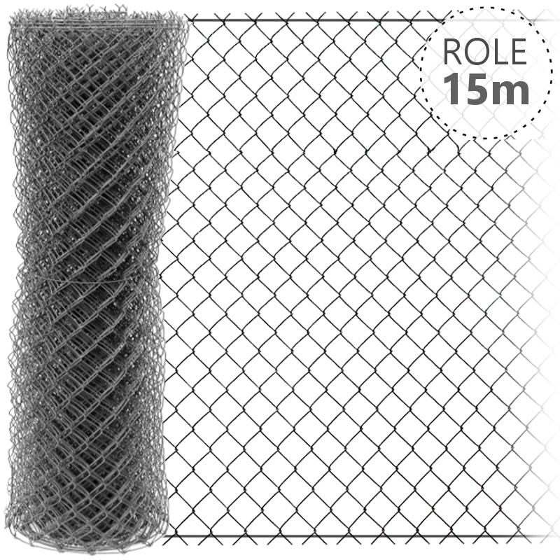 Pletivo pozinkované IDEAL 2,0mm/role 15m se zapleteným napínacím drátem, výška dle výběru od 1000 do 2000 mm výška v mm: 1000 mm