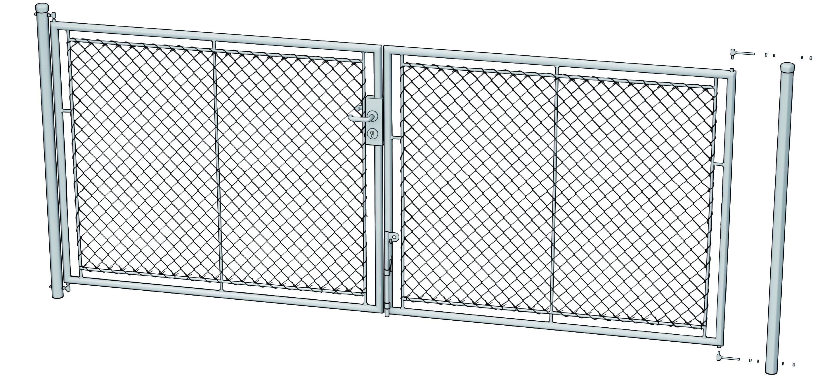 Zahradní brána psaníčko š. 3600 mm x v. dle výběru-příprava na FAB vč. sloupků Výška v mm:: 125060Kg