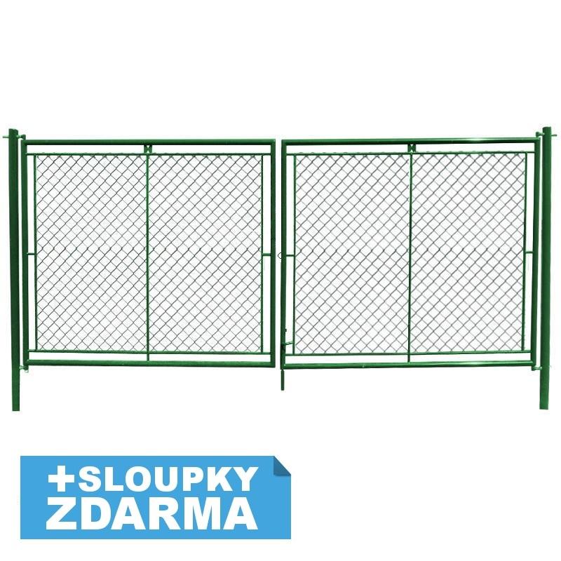 Zahradní brána dvoukřídlová s okem na visací zámek š. 3600 x v. dle výběru / celovýplet vč. sloupků Výška v mm:: 1000