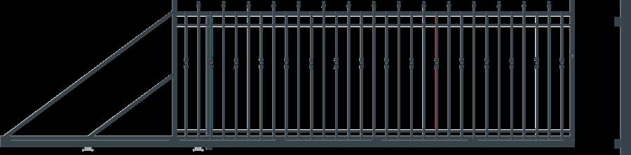 HAGA brána posuvná šířka 4000 x výška 1540 mm, LEVÁ