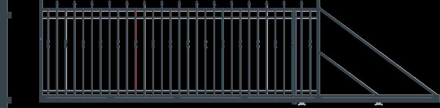 HAGA brána posuvná šířka 4000 x 1540 mm, PRAVÁ