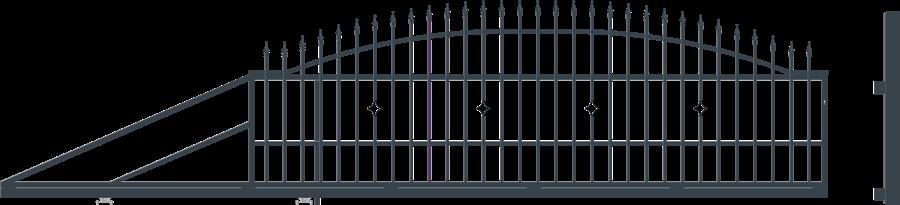 MONACO brána posuvná šířka 4000 x výška 1440 mm, LEVÁ