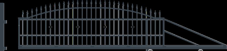 MONACO brána posuvná šířka 4000 x výška 1440 mm, PRAVÁ