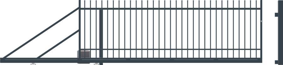 NICE posuvná brána šířka 4000 x 1500mm, LEVÁ s pohonem