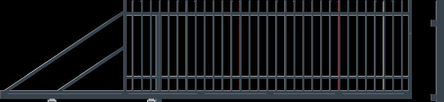 NICE posuvná brána šířka 4000 x výška 1500 mm, LEVÁ