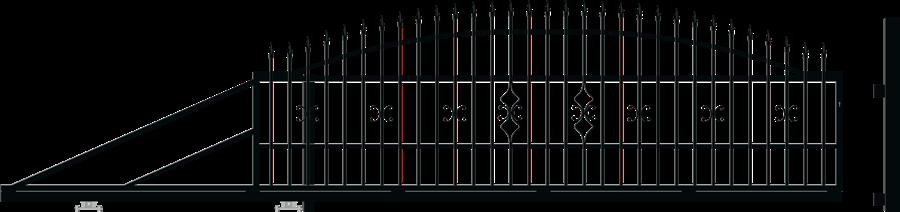 TOLA brána posuvná šířka 4000 x výška 1440 mm, LEVÁ