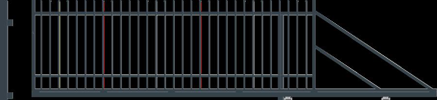 NICE posuvná brána šířka 4000 x výška 1500 mm, PRAVÁ