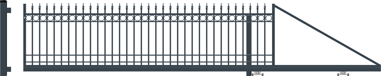 OXFORD brána posuvná PRAVÁ šířka 4000 x výška 1140 mm