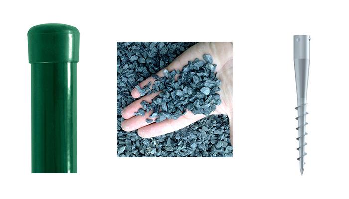 Sada - sloupek Zn+PVC s vrutem pro výšku pletiva 2000 mm