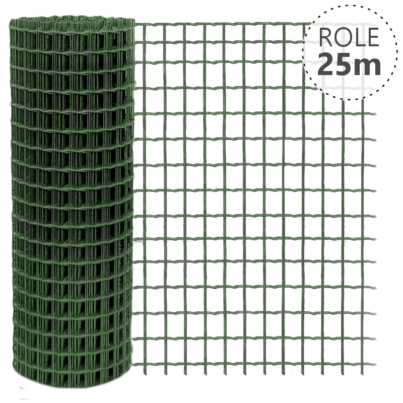 Svařované pletivo Pilonet Super Zn+PVC, oko 50 x 50mm, síla drátu 3,0mm, role 25m, barva zelená, v. dle výběru v. v mm: 1000 mm 4Kg