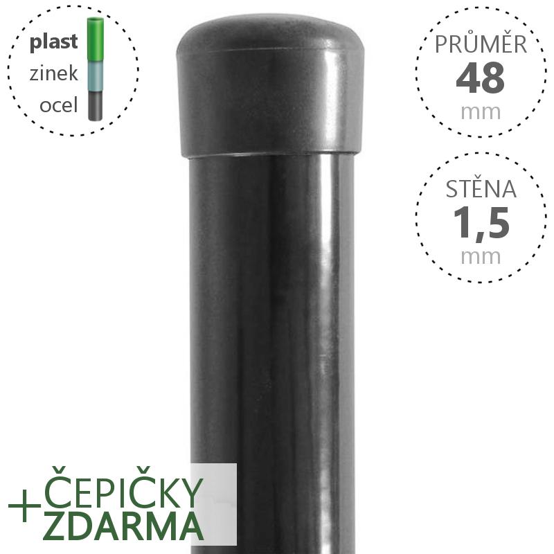 Plotový sloupek poplastovaný Zn + PVC 48x1,5 mm, antracit, výška dle výběru Délka v mm:: 2600