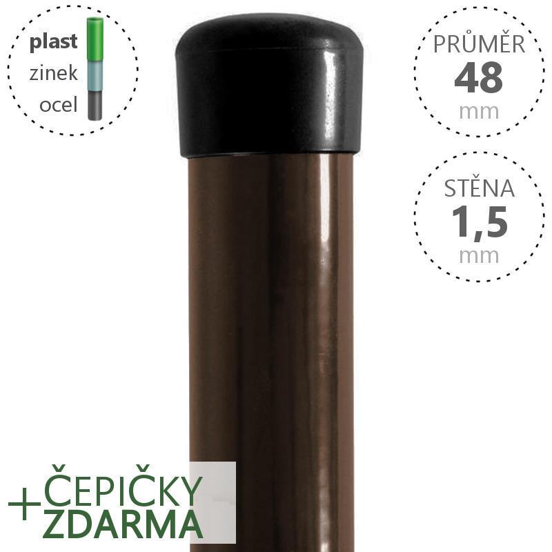 Plotový sloupek poplastovaný Zn + PVC 48x1,5 mm, hnědý, výška dle výběru Délka v mm:: 2400