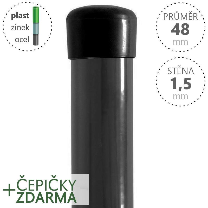 Plotový sloupek poplastovaný Zn + PVC 48x1,5 mm,  šedý, výška dle výběru Délka v mm:: 2600