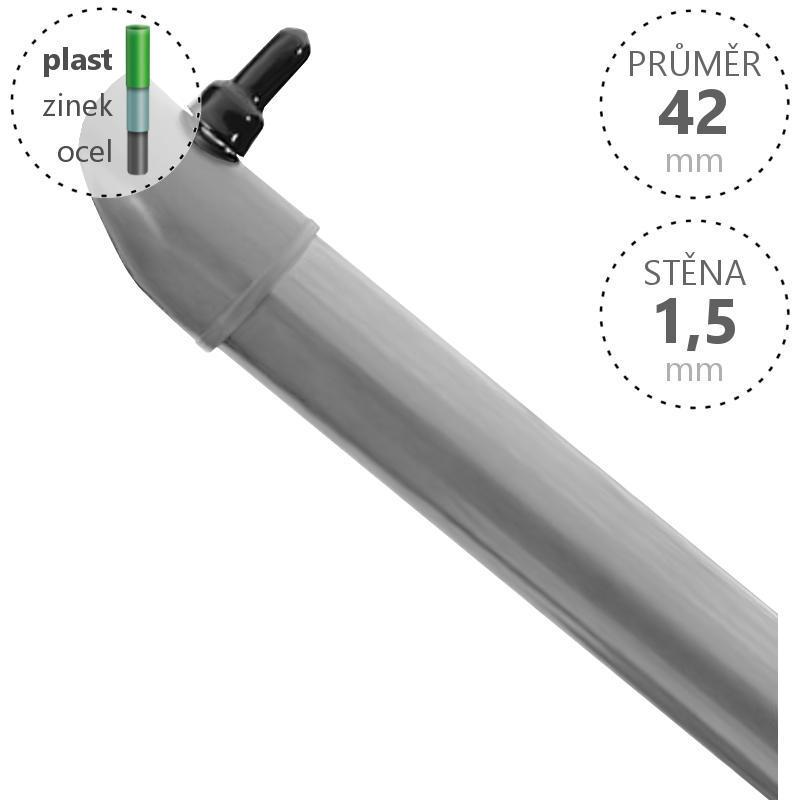 Vzpěra Zn+ poplast PVC / průměr 42x1,5 mm, barva: šedá Délka v mm:: 1800