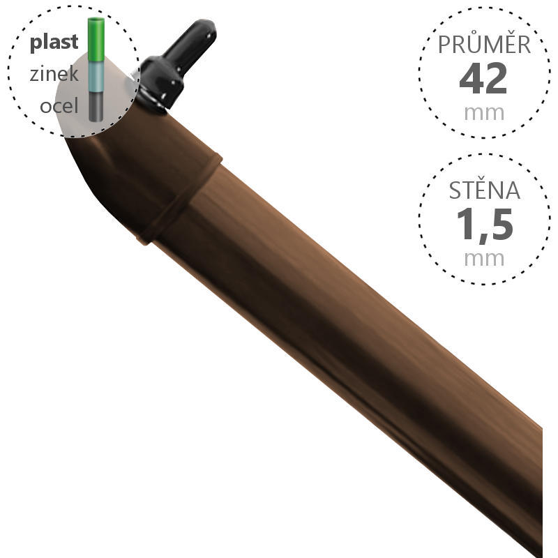 Vzpěra Zn+ poplast PVC / průměr 42x1,5 mm, barva hnědá 18003Kg