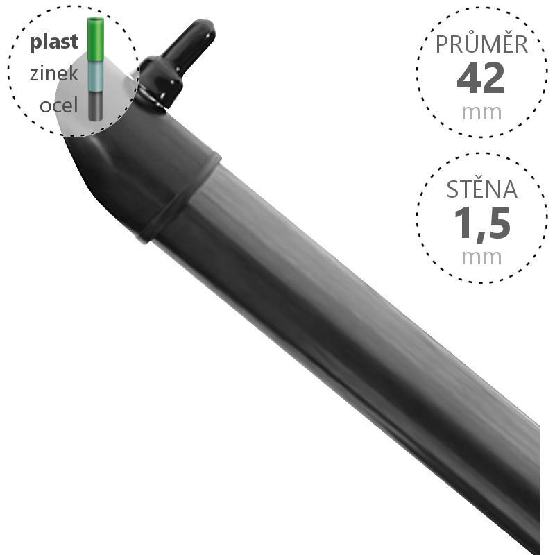 Vzpěra Zn+ poplast PVC / průměr 42x1,5 mm, barva antracit Délka v mm  1600