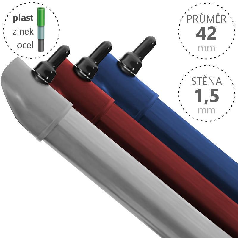 Vzpěra Zn+ poplast PVC / průměr 42x1,5 mm, barva: ostatní barvy Délka 1800 4Kg