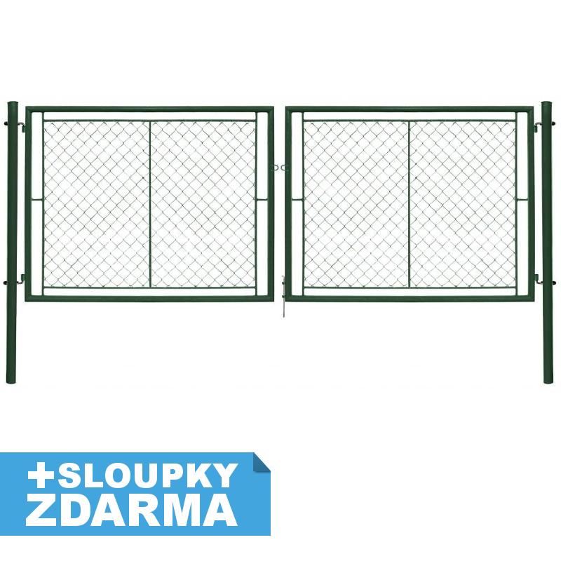 Brána Ideal II, oko, š. 4037 mm x v. dle výběru, Zn+PVC zelená RAL6005 Výška v mm:: 950 mm