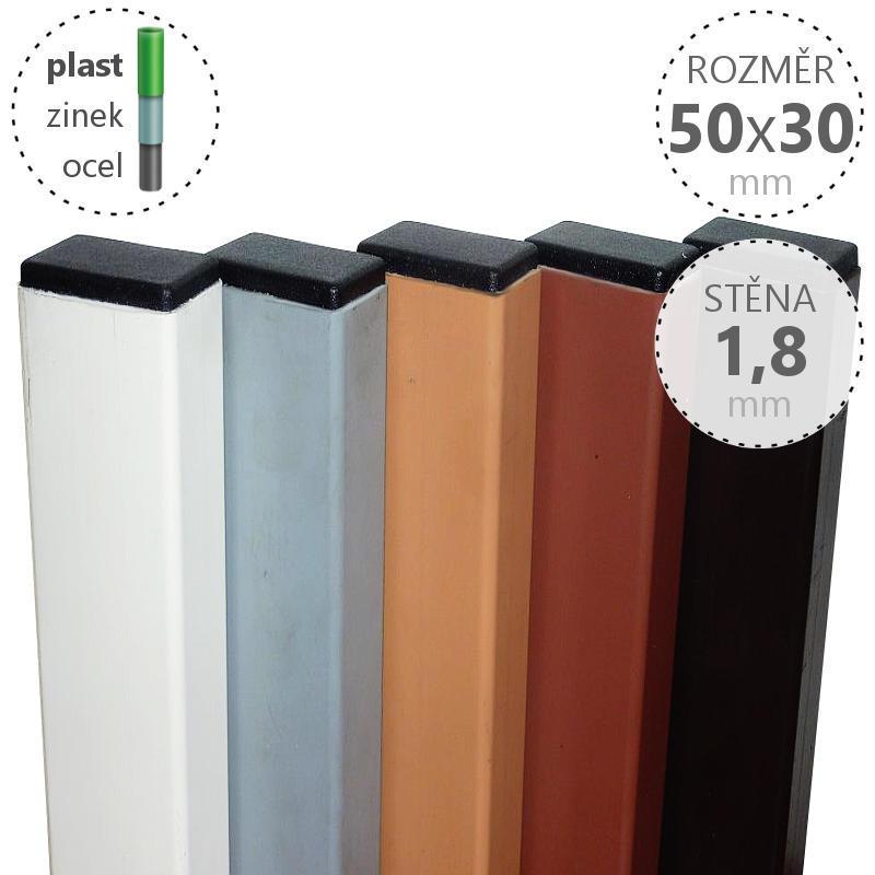 Nosník zinkovaný a poplastovaný nosník 50x30x1,8x6100 mm, celé tyče, barva: dle výběru Povrchová úprava  Zn + poplast šedý