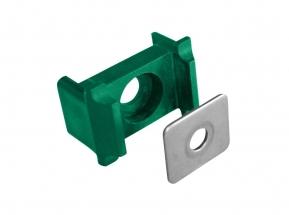 Úchyt panelu na sloupek 60x40 osazení+kovový přítlak, PVC barva:: zelená