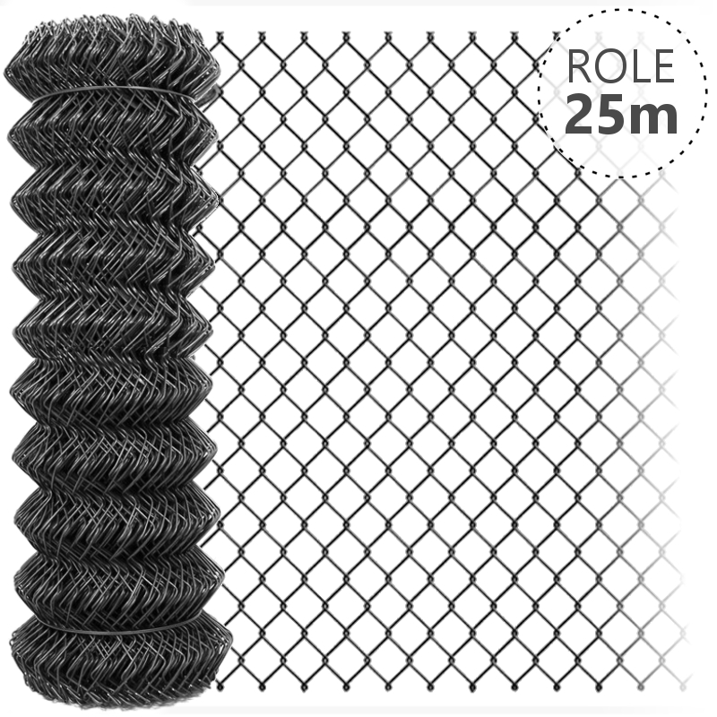Pletivo Zn+PVC 50, 1,65/2,5 bez zapleteného ND, barva ANTRACIT, 25 m Role: 1250mm/25m