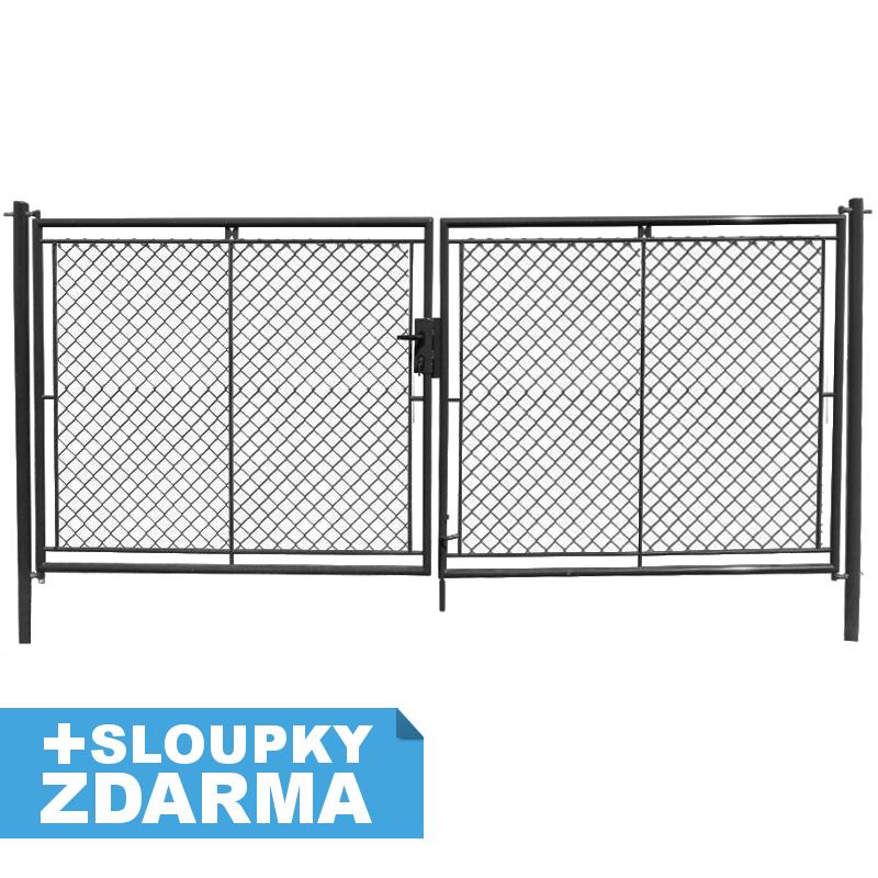 Zahradní brána celovýplet š.3600 mm - příprava na FAB vč. sloupků, ANTRACIT v. 1500 4Kg