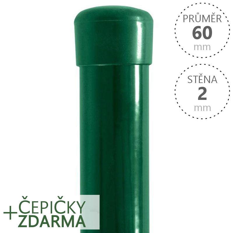 Sloupek Ideal Zn+PVC 60x2,0 mm, různé délky, Zelený 3750 mm balení PLOTY | 4Kg