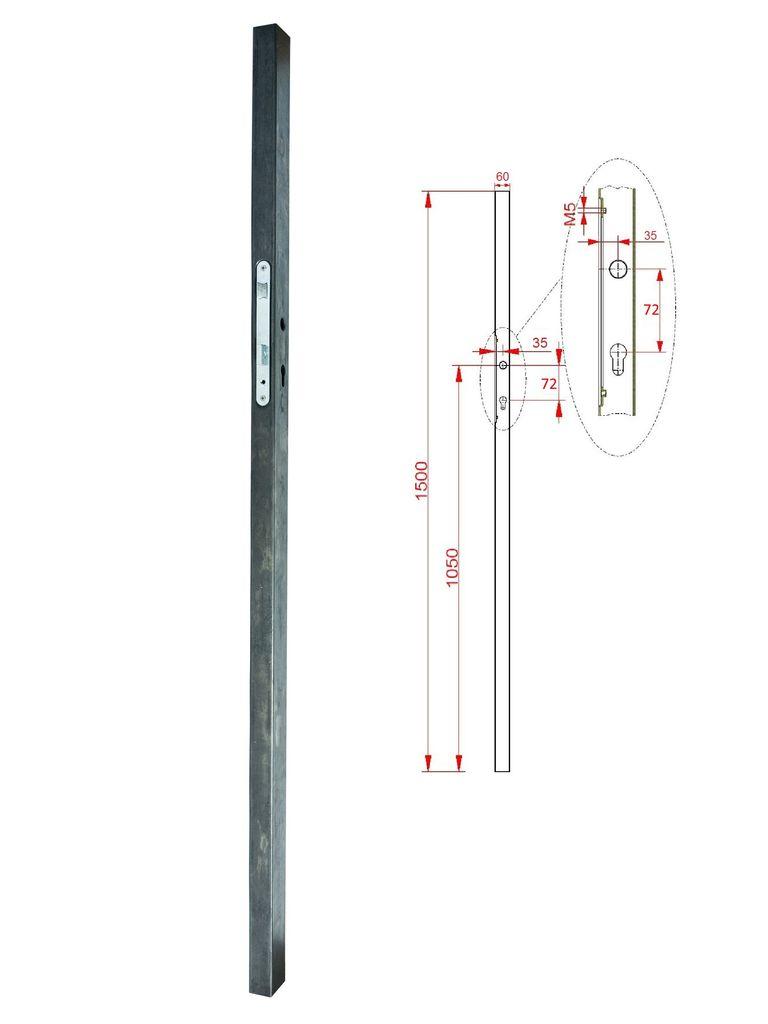 KZK Profil 60x40x1,5mm se zámkem v. H-1500 mm balení PLOTY | 3,85Kg