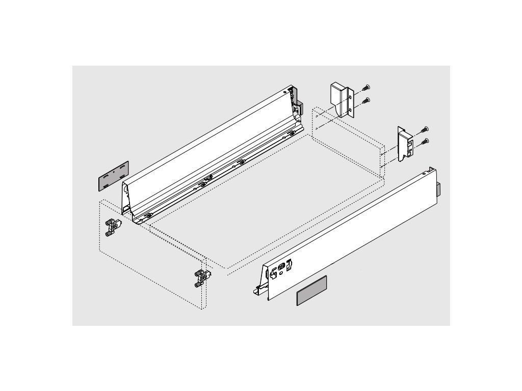 Blum výsuv Tandembox Antaro M/270mm, šedý, 30kg, set, 228342