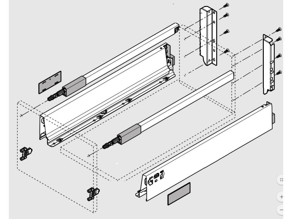 Blum výsuv Tandembox Antaro D/450mm, šedý 30kg, set, 206035