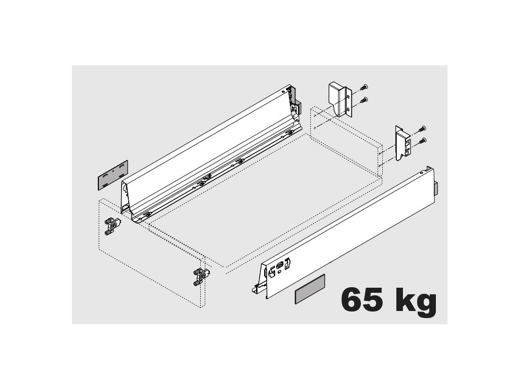 Blum výsuv Tandembox Antaro M/600mm, šedý, 65kg, 254456