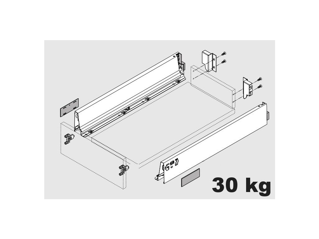 Blum výsuv Tandembox Antaro M/500mm, černý, 30kg, 284723