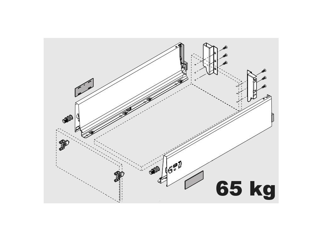 Blum výsuv Tandembox Antaro K/450mm, šedý, 65kg, 260521
