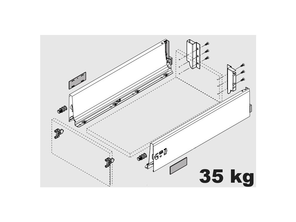 Blum výsuv Tandembox Antaro K/450mm, bílý, 30kg, 260538