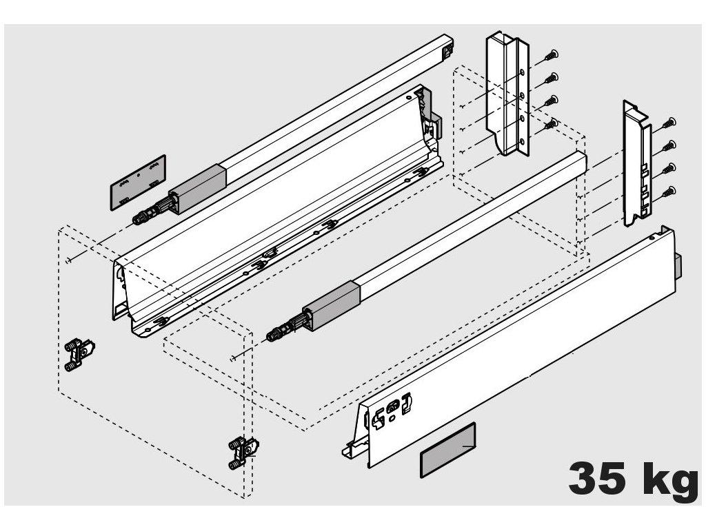 Blum výsuv Tandembox Antaro C/500mm, šedý, 30kg, 254552