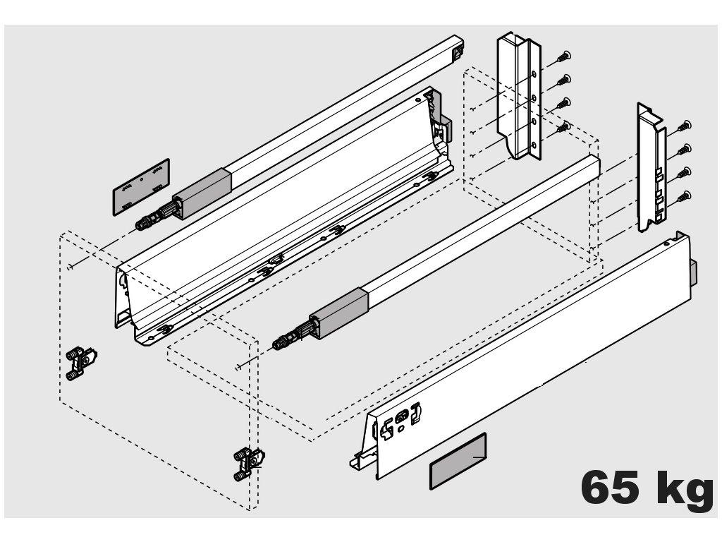 Blum výsuv Tandembox Antaro C/650mm, šedý, 65kg, 254588
