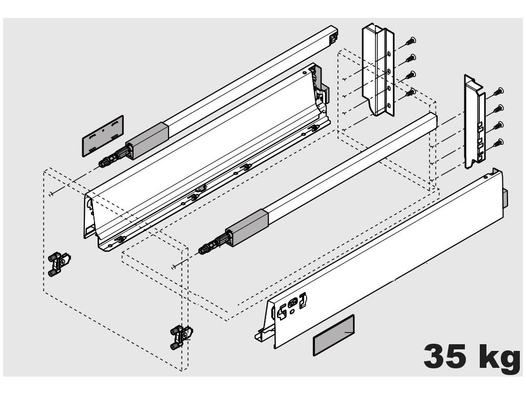Blum výsuv Tandembox Antaro C/350mm, bílý, 30kg, 254536