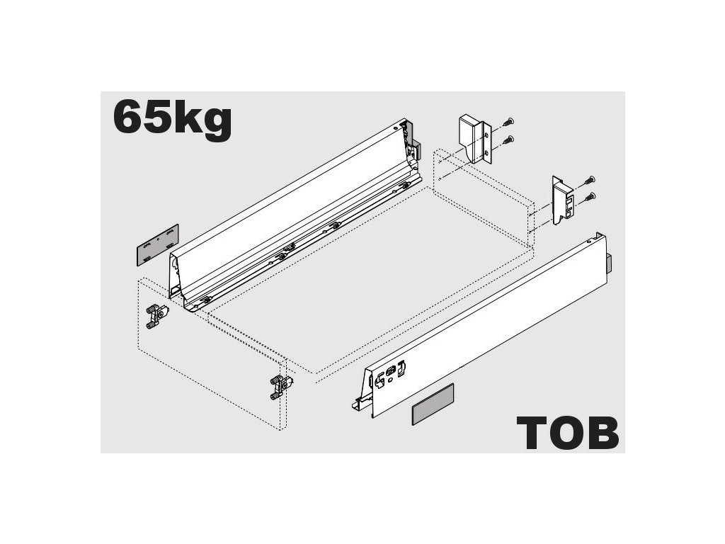 Blum výsuv Tandembox Antaro TOB M/500mm, šedý, 65kg, 255091