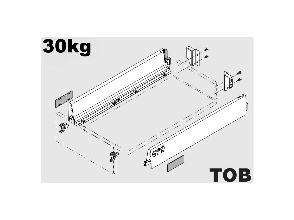 Blum výsuv Tandembox Antaro TOB M/270mm, bílý, 30kg, 254844