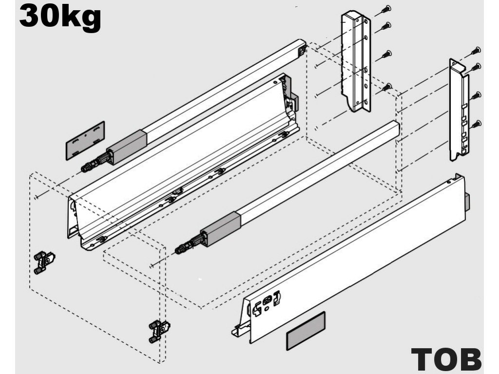 Blum výsuv Tandembox Antaro TOB D/500mm, bílý, 30kg, 260664