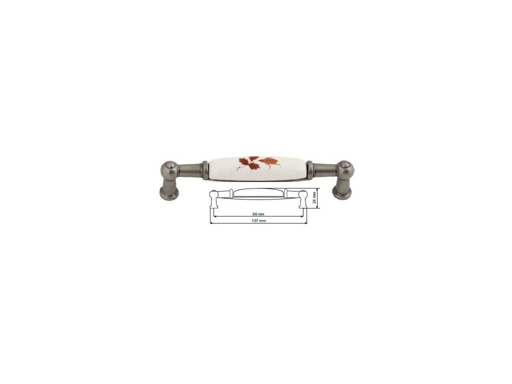 nábytková úchytka porcelánová Anežka starostříbro, 2196-2-S, rozteč 96mm