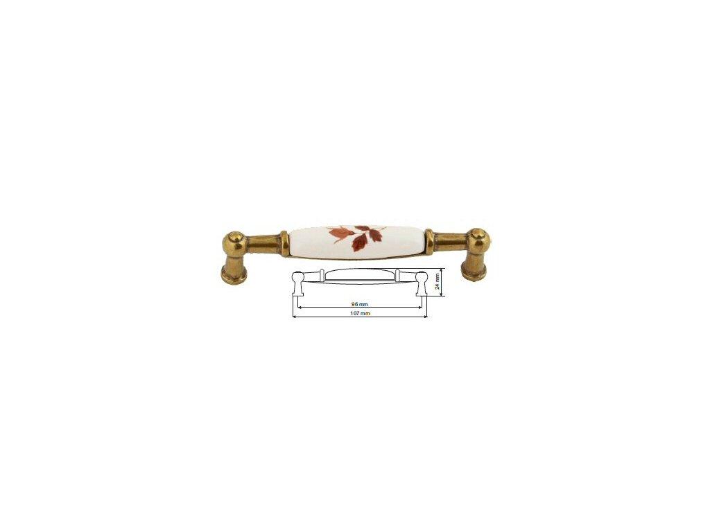 nábytková úchytka porcelánová Anežka staromosaz, 2196-2-Z, rozteč 96mm