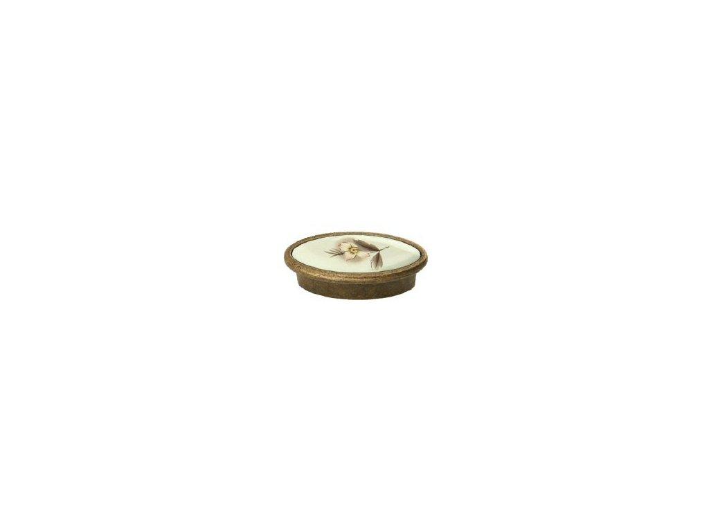 nábytková knopka rustikální Ida staromosaz, 2301-Z, rozteč 32mm